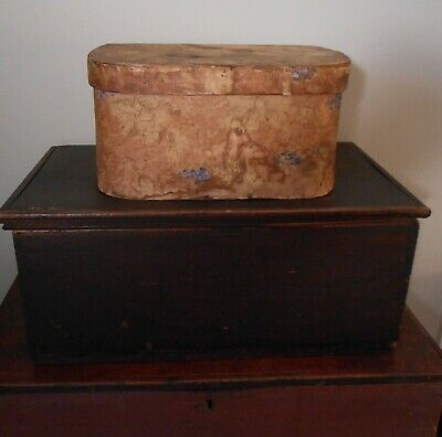 AAFA Early Wallpaper Covered Wooden Box Primitive c 1850 Bandbox 19th c Handmade