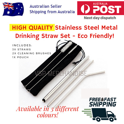 BPA FREE HIGH QUALITY Bubble Tea Stainless Steel Metal Drinking Straw Set