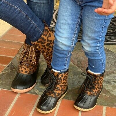 New** Mommy Daughter Leopard Duck Boots Bundle. Size 5.5,6,6.5,7,7.5,8,8.5,9,10