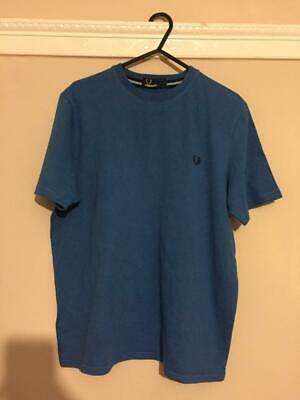 BOYS BLUE GENUINE FRED PERRY T-SHIRT TOP. size L age 12-13 hardly worn