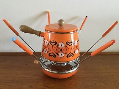VINTAGE In Box ORANGE PORCELAIN ENAMELLED Funky FONDUE SET