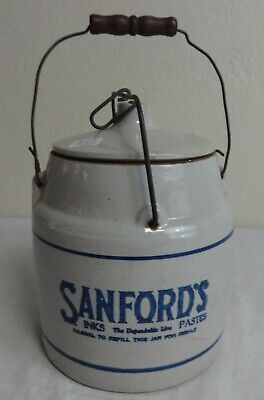 Antique Stoneware Sanford's Paste Advertising Jar w/Wood Handle and Lid