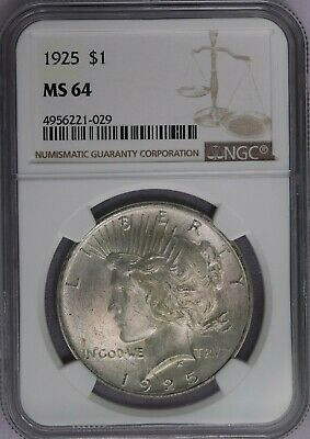 1925-P NGC Silver Peace Dollar MS64 Mint State BU US Coin Luster