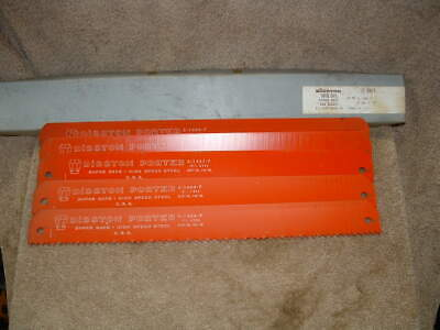 "Five Disston Porter High Speed Steel Power Hack Saw Blades Usa 14"" Long 1.5 Wide"