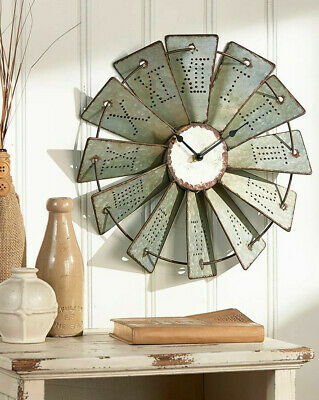"Metal Windmill Wall Clock 14.5"" Primitive Country Farm House Decor"