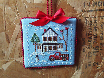 finished completed Little House Red truck House Christmas cross stitch ornament