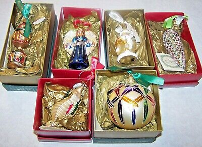 6 WATERFORD Holiday Heirlooms Seahorse Angel Santa Drummer Boy Ornaments w/boxes