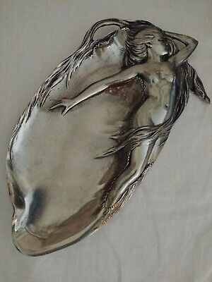 Antique ART NOUVEAU E.P.U. NUDE LADY FIGURAL PINUP RELIEF PEWTER CARD TRAY DISH