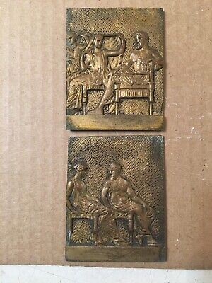 Two Antique French Neoclassical Bronze Relief Plaques Clock Decorations