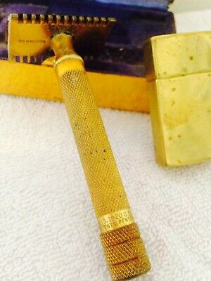"Antique Gillette Gold Double Ring Razor Marked ""Jan,13, 1920 Other Patents Pendi"