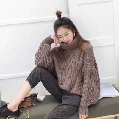 Ladies Winter Warm Turtleneck Sweater Baggy Pullover Jumper Thick Knitwear MA