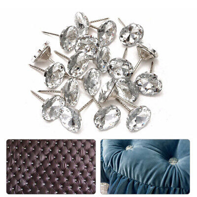 Black Diamante crystal upholstery nail buttons 17mm head Headboards Sofa Chair