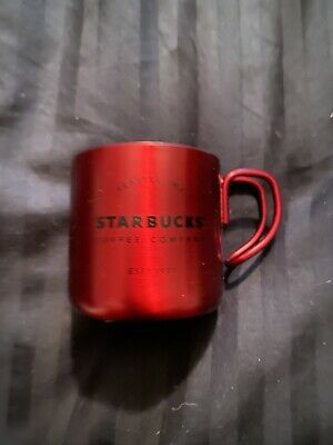 Starbucks Bright Red Merry Christmas Holiday Demi Espresso Cup Mug Metal New Min