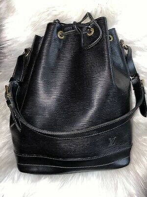 Authentic Louis Vuitton Black Epi Noe GM