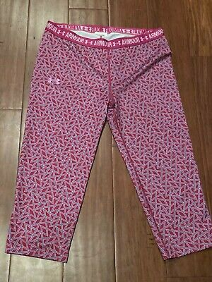 NEW Under Armour Girls Size Youth XL YXL Pink Cropped Capri Leggings