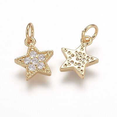 10x Brass Micro Pave Grade AAA Cubic Zirconia Charm Real Gold Plated 9x7.5x1.5mm