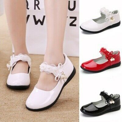 Children Girls Solid Leather Bowknot Pearl Pendant Princess Casual Shoes 1Pc