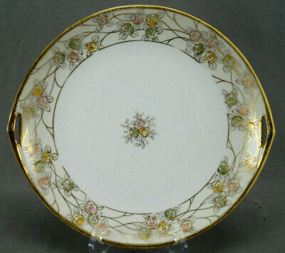 Nippon Morimura Hand Painted Pink & Blue Rose & Gold Beaded Cake Plate