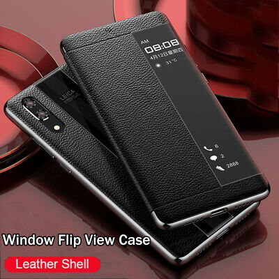For Huawei Mate 30 20 Lite P20 P30 Pro Window View Cowhide Flip Phone Case Cover