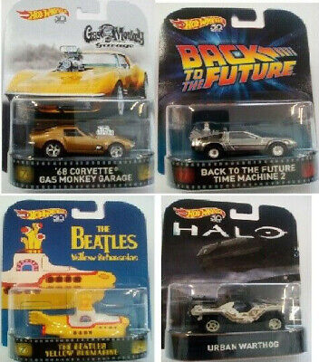 DeLorean,Beatles,Urb Retro Entertainm -  4 er Set Gas Monkey Hot Wheels 1:64