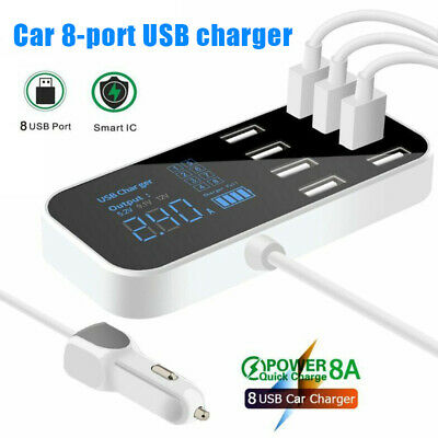 8 Port Quick Charger USB 3.0 with LED Display Car Mobile Phone USB Charger