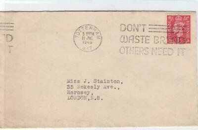 tottenham 1946 dont waste bread slogan cancel  & perfin stamps cover  ref r14740