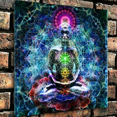 "12""x12""Colorful Buddha HD Canvas prints Home painting Decor room Wall Picture"