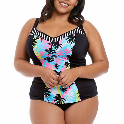 Elomi Abstract 7072 Moulded Tankini Top With Adjustable Sides Plus Size Swimwear