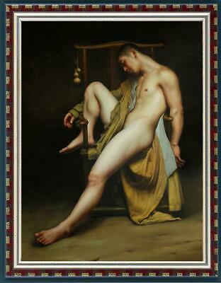 """Hand-painted Original Oil painting art Portrait male nude on Canvas 24""""X36"""""""