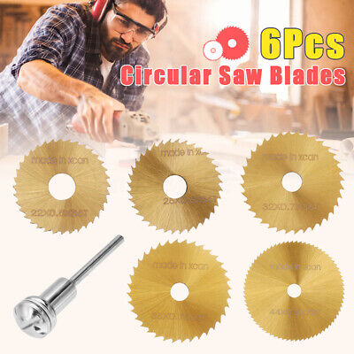 6Pcs HSS Circular Saw Blade Cutting Discs Set and Mandrel for Drill Rotary Tool