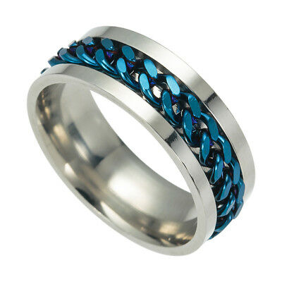 Unisex Eternity Titanium Stainless Steel Men Chain Ring For Women Men Cool Size8