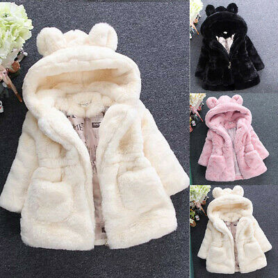 New Kids Baby Girls Bunny Winter Hooded Coat Cloak Jacket Warm Outerwear Clothes