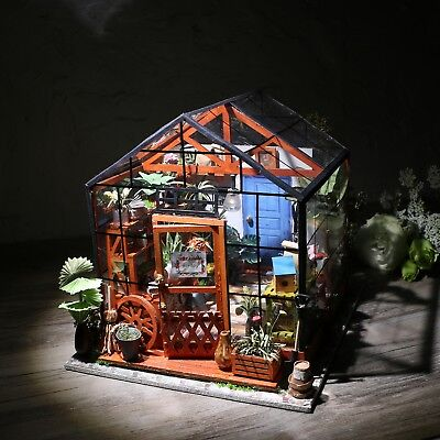 Wooden Garden Doll House Fariy Miniature Dollhouse with Furniture LED Gift Girls