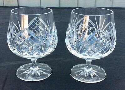 Beautiful Pair Of Crystal Cut Glass Brandy Glasses,Lovely Design