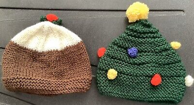2 Hand Knitted Festive Premature Baby Hats