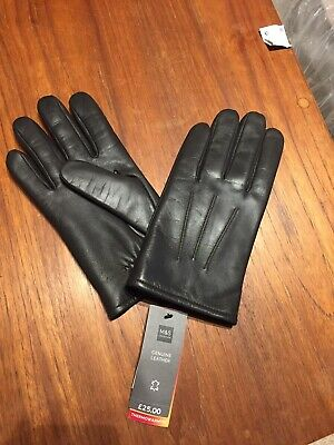 New Men's Genuine Leather Gloves With Thermowarmth Marks And Spencer Brown Med