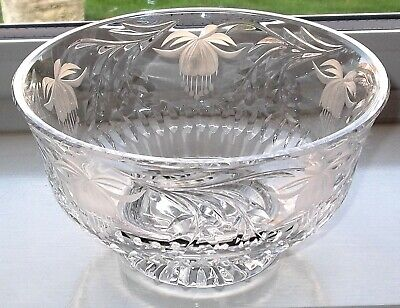 "Royal Brierley Crystal Fuchsia Deep Bowl Fruit/Salad 7.5"" (Signed)"