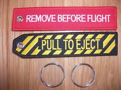Remove Before Flight &  Pull To Eject , Ejection Seat Embroidered Key Tags