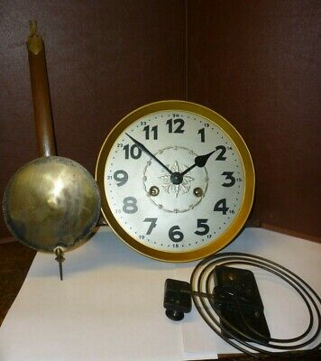 Antique German Striking Wall Clock Movement+Dial Pendulum Gong Complete (102)