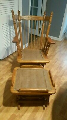Vintage 1960s Tell City? Glider Rocking Chair with Footstool
