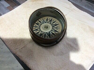 Late 19th Century Brass Ship's Compass Beautiful Condition