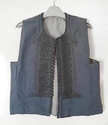 "Kids Boys Grey Embroidered Handmade Waistcoat 32"" Chest 16.5"" Pit To Pit Costume"