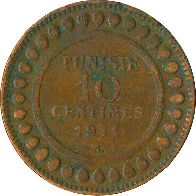Coin / French Tunisia / 10 Centimes 1911   #Wt7396