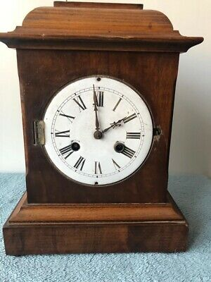 Antique Clock, Vintage Wooden Mantel Chiming Clock For Repair