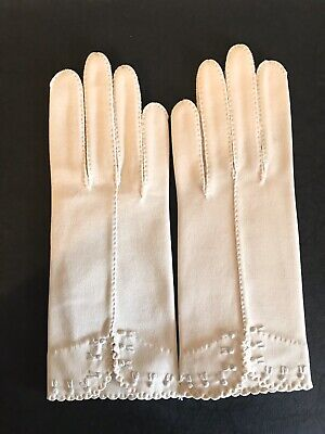 Vintage 50s Gloves French Knot Embroidery 6.5 Never Worn Ivory Women's