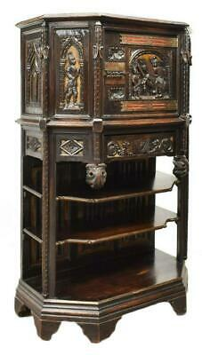 Cabinet, French Gothic Revival Carved Oak, 19th C.,( 1800s ), Gorgeous Antique!!