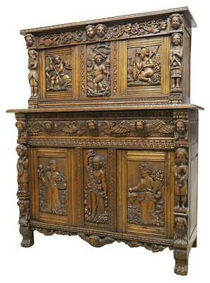 Sideboard, French Figural,Carved Oak Setback 18/19th Century,Gorgeous Antique!!