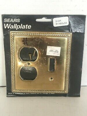 Vintage Sears Roebuck Solid Brass Wall Plate Toggle Duplex Switch Outlet