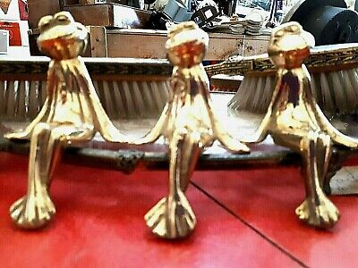 Three vintage brass sitting frogs suitable for a shelf ,10cm tall ,frog ornament