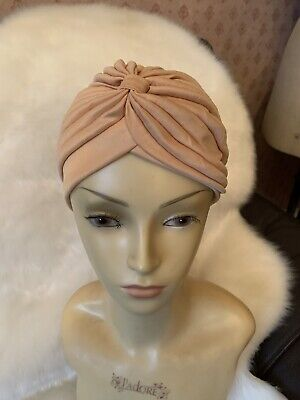 1960's Peach Retro Turban Hans Made Beautiful Piece